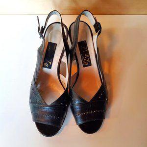 Vintage Italian Leather Slingback Peep Toe Sandals
